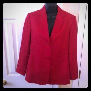 Red Talbots Linen Blazer